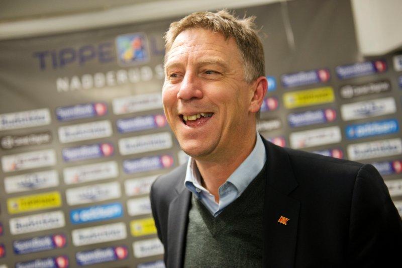 Kjell Jonevret var strålende fornøyd etter derbyseieren. Foto: Fredrik Varfjell / NTB scanpix