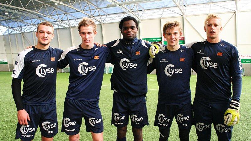Fra venstre: Veton Berisha, Viljar Helland Vevatne, Christian Landu Landu, Yann-Erik de Lanlay og Arild Østbø. Foto: Tore Espedal
