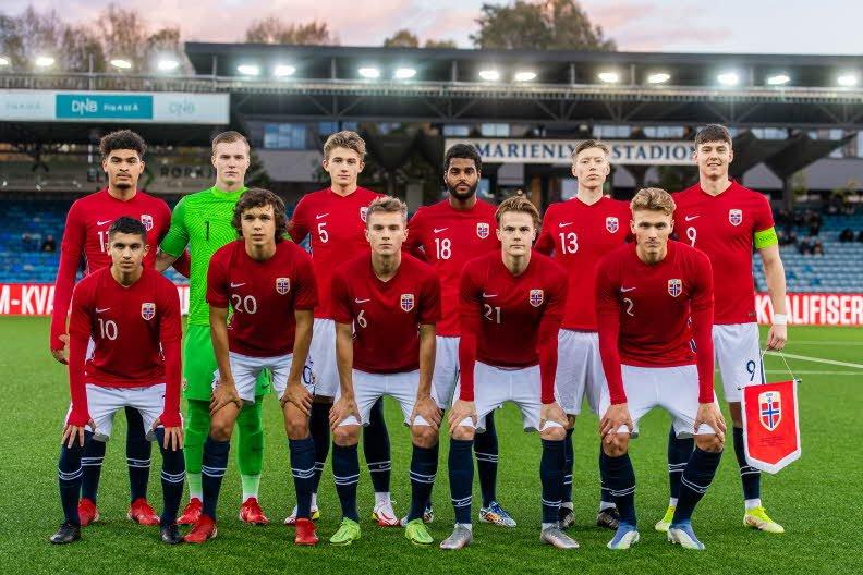 Det norske U21-landslaget som slo Estland 5-0. Foto: Jon Olav Nesvold